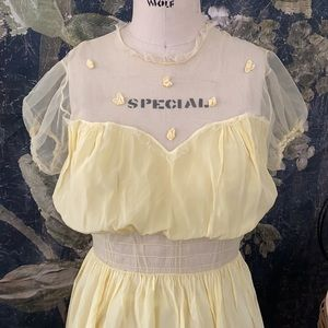 1940s Hollywood starlet mesh nightgown embroidery